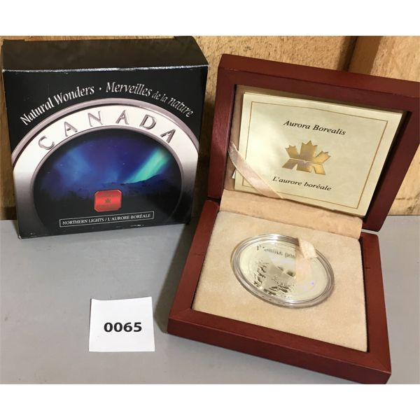 RCM NATURAL WONDERS $20 FINE SILVER COIN - NORTHERN LIGHTS
