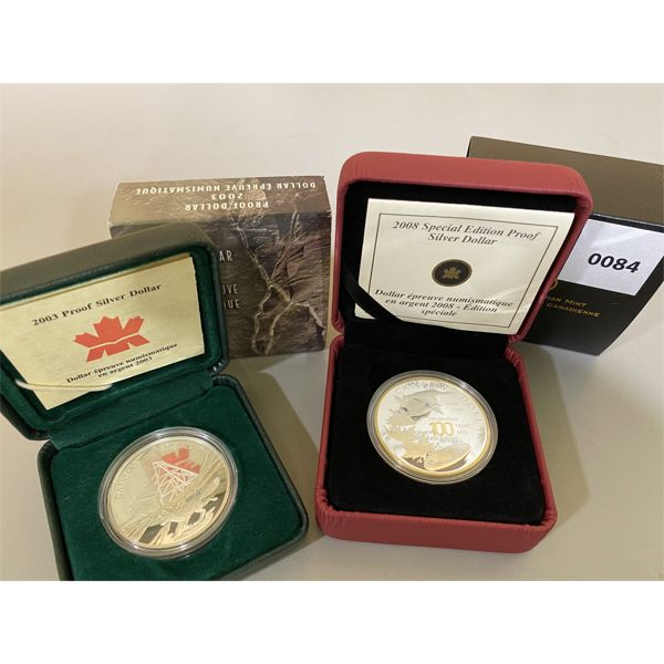 LOT OF 2 - 2003 & 2008 CND MINT SILVER DOLLAR PROOFS