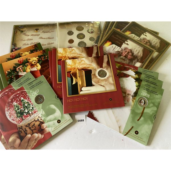 LOT OF 15 PROOF SETS - CHRISTMAS GIFT SETS - 2004 TO 2008