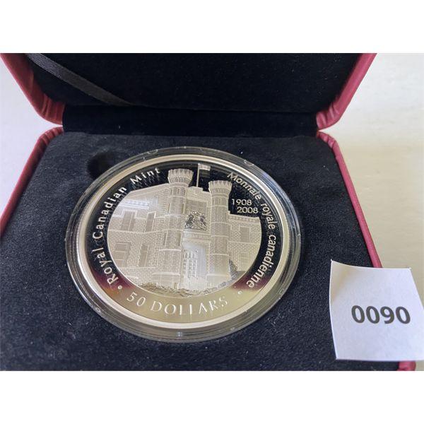 ROYAL CANADAIN MINT 100TH ANNIVERSARY $50 SILVER COIN - 2008