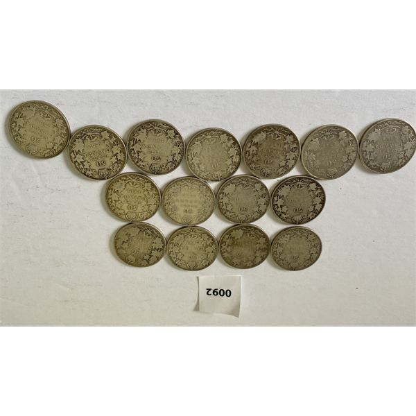 LOT OF 15 - CND 50 CENT COINS - 1902 TO 1919