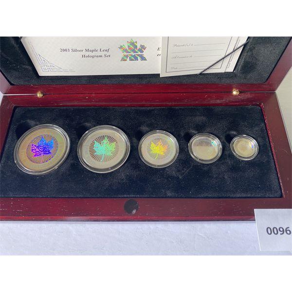 2003 SILVER MAPLE HOLOGRAM SET - $5, 4, 3, 2, 1 IN WOOD PRESENTATION CASE
