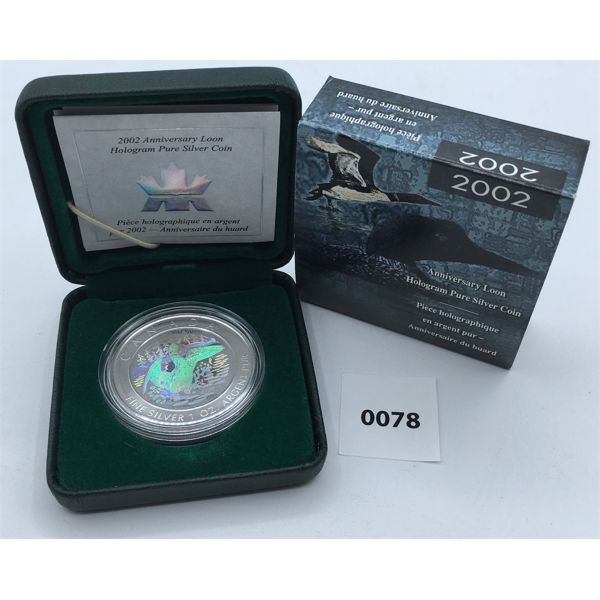 2002 ANNIVERSARY LOON HOLOGRAM PURE SILVER 1 OUNCE COIN