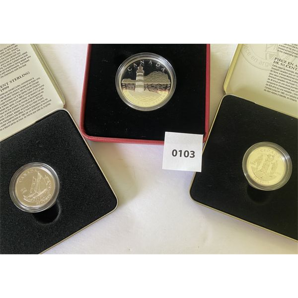 LOT OF 3 - SILVER CND $20 COIN & 2 X 50 CENT COINS
