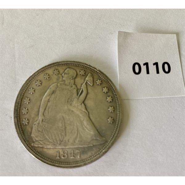 1847 US SEATED LIBERTY SILVER DOLLAR