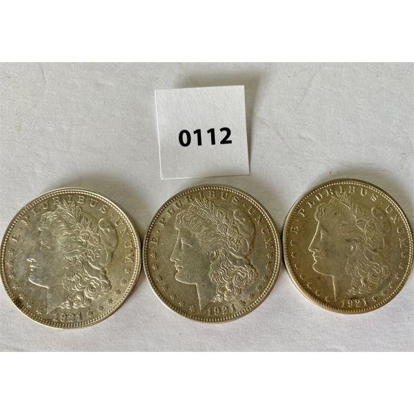 LOT OF 3 - 1921 MORGAN SILVER DOLLARS - PEACE DOLLARS