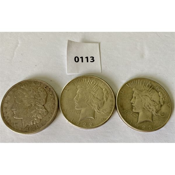 LOT OF 3 - 1921, 1922, 1923 SILVER DOLLARS - PEACE DOLLARS
