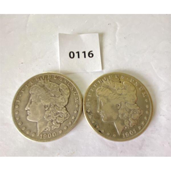 LOT OF 2 - 1900 & 1901 - MORGAN SILVER DOLLARS