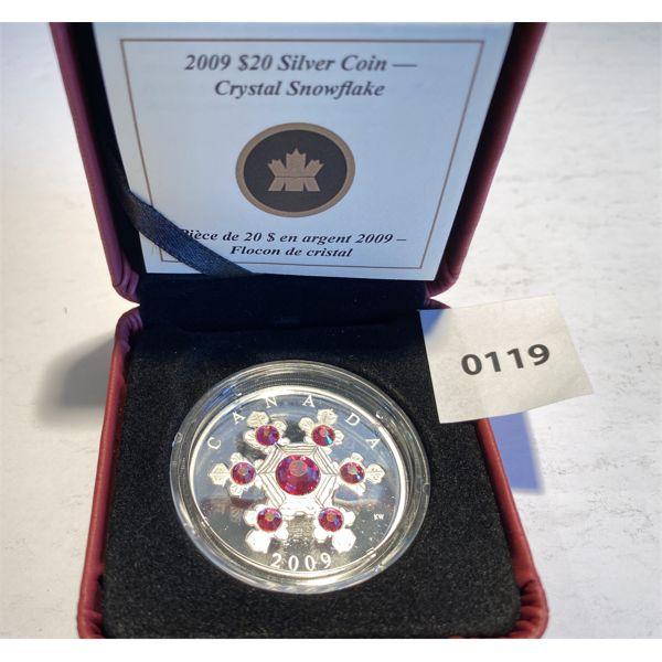 2009 $20 SILVER COIN -CRYSTAL SNOWFLAKE