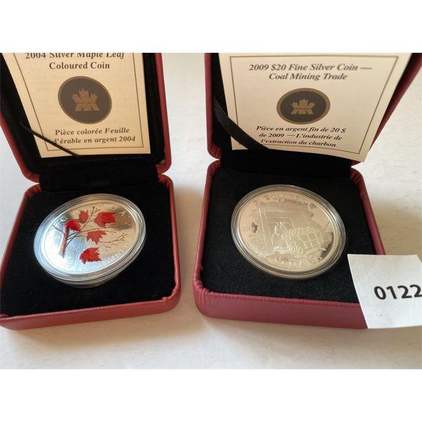LOT OF 2 - 2004 1 OZ SILVER $5 COIN & 2009 $20 SILVER COIN