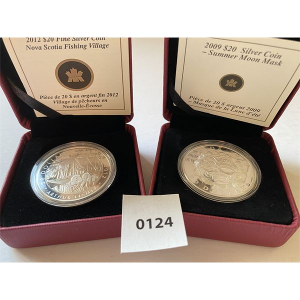 LOT OF 2 - $20 RCM SILVER COINS - 2009, 2012