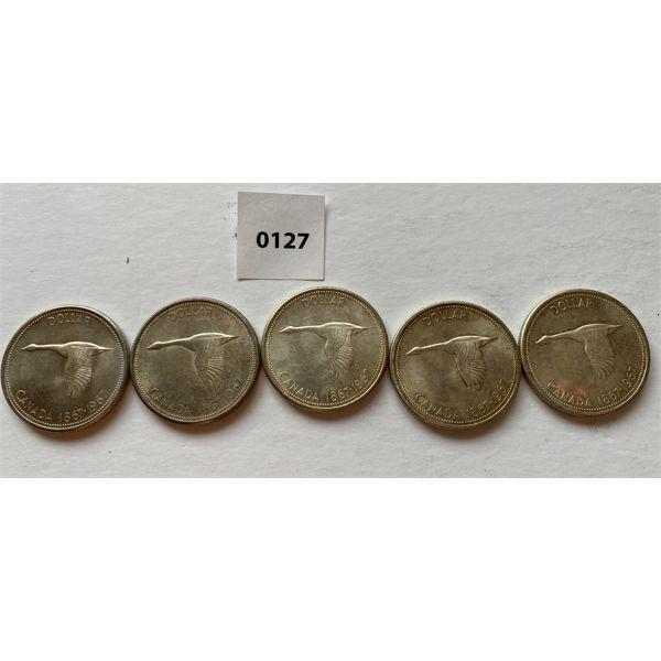 LOT OF 5 - CND CENTENNIAL SILVER DOLLARS - 1967