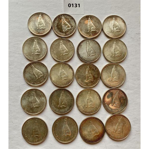 LOT OF 20 - CND CENTENNIAL SILVER 50 CENT COINS - 1967