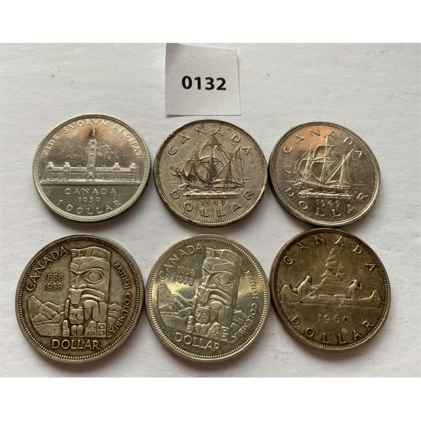 LOT OF 6 - CND SILVER DOLLARS - 1939 / 49 / 58 / 60