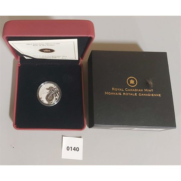 2013 $20 FINE SILVER COIN - YEAR OF THE SNAKE