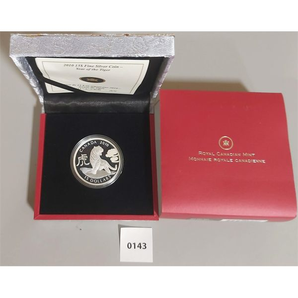 2010 $15 FINE SILVER COIN - YEAR OF THE TIGER