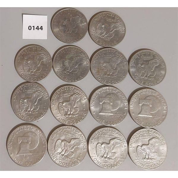 LOT OF 14;  1971-1978 USA ONE DOLLAR COINS