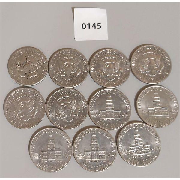 LOT OF 11; 1971-1976 USA HALF DOLLAR COINS