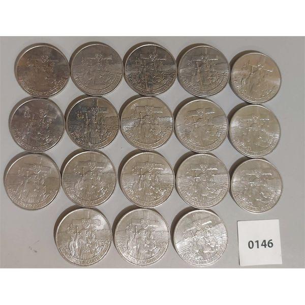 LOT OF 18 - 1984 CDN JACQUES CARTIER 1 DOLLAR COIN