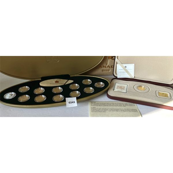 LOT OF 2 - 2001 SILVER/GOLD 3 CENT COIN & 1999 12 COIN SET - 25 CENTS