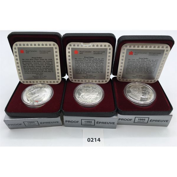 LOT OF 3 - 1993, 94, 95 RCM PROOF SILVER DOLLARS
