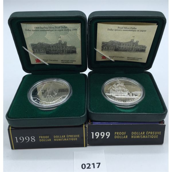 LOT OF 2 - 1998 & 1999 PROOF SILVER DOLLARS