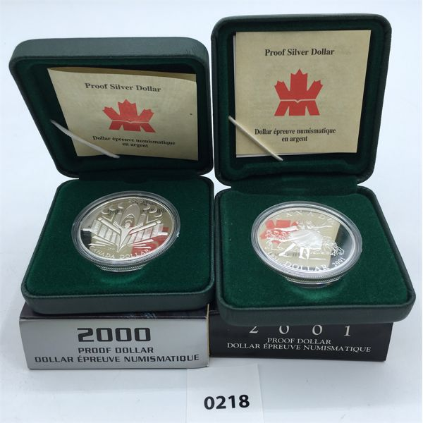 LOT OF 2 - 2000 & 2001 PROOF SILVER DOLLARS