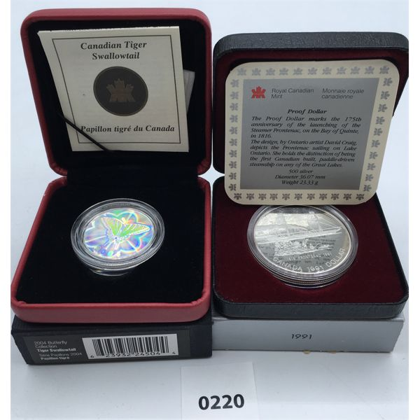 LOT OF 2 - 2004 BUTTERFLY COLLECTION & 1991 PROOF SILVER DOLLAR