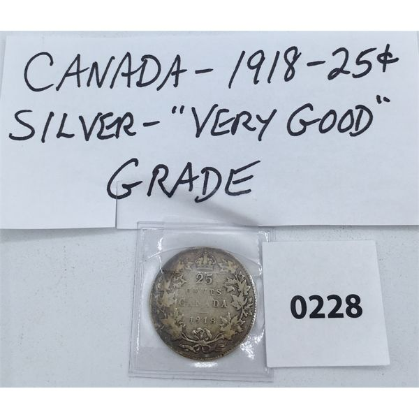CANADIAN 1918 SILVER 25 CENT PIECE