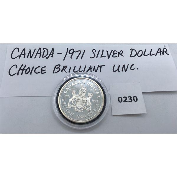 CANADIAN 1971 SILVER DOLLAR - CHOICE BU