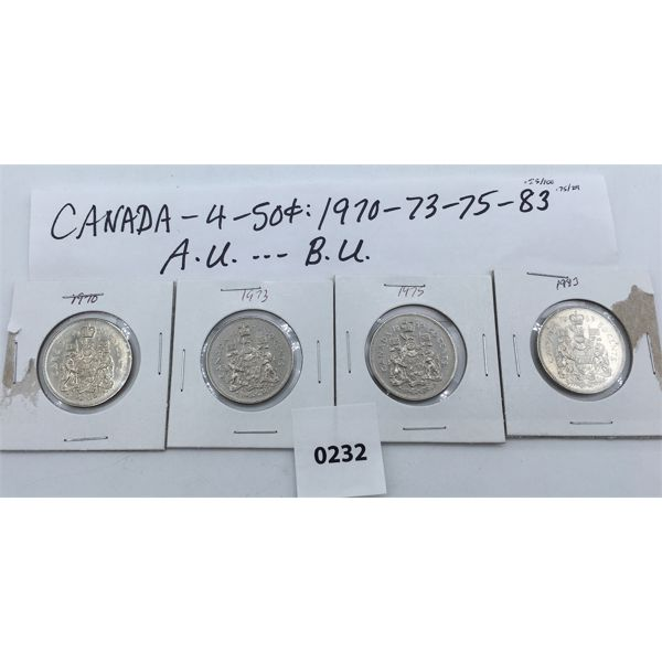 LOT OF 4 - 50 CENT PIECES - 1970, 73, 75, 83