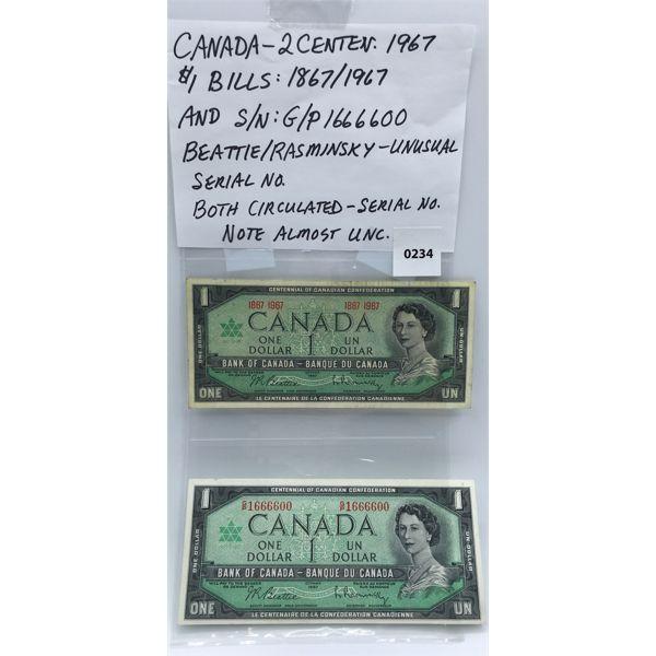 LOT OF 2 - CANADIAN 1967 $1 BILLS