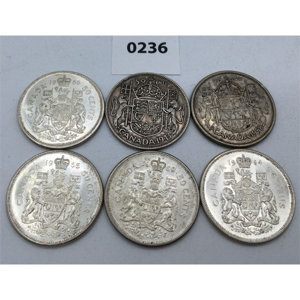 LOT OF 6 - CANADIAN SILVER 50 CENT PIECES