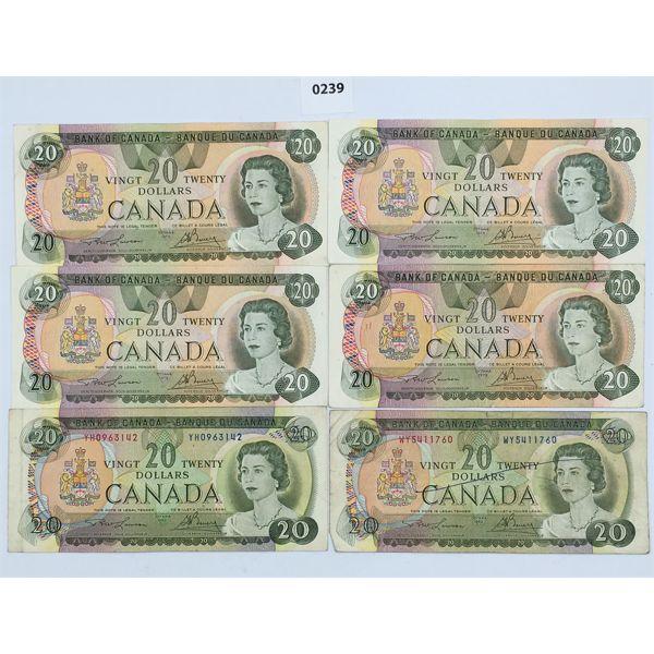 LOT OF 6 - CANADIAN 20 DOLLAR BANK NOTES