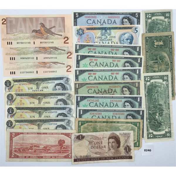 LOT OF 22 BANKNOTES - MOSTLY CANADIAN