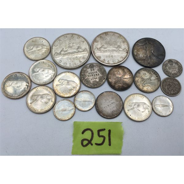 LOT OF 18 SILVER COINS - MOSTLY CANADIAN