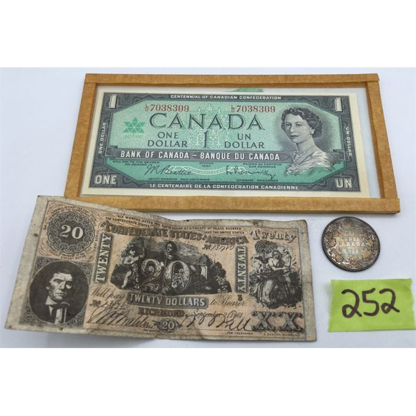 LOT OF 3 - $1 CANADIAN BILL, US CONFEDERATE $20, AND 1913 CANADA 50 CENT PIECE