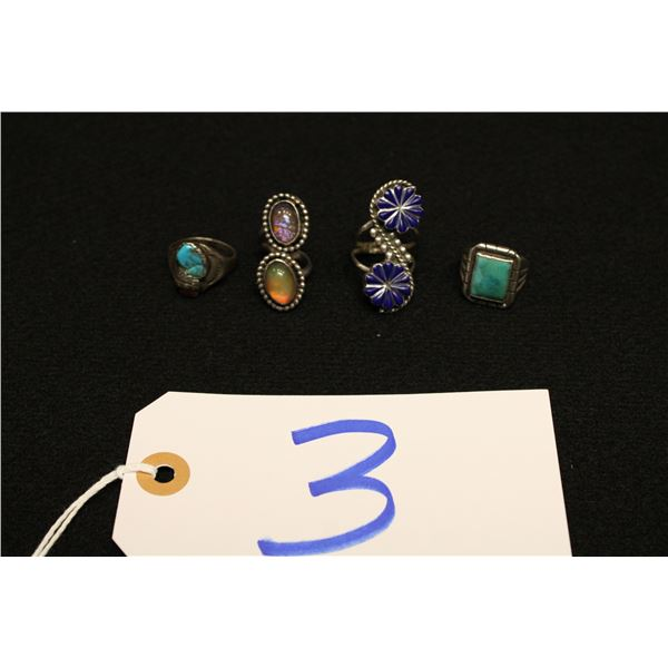 Set of 4 Native American Silver Rings
