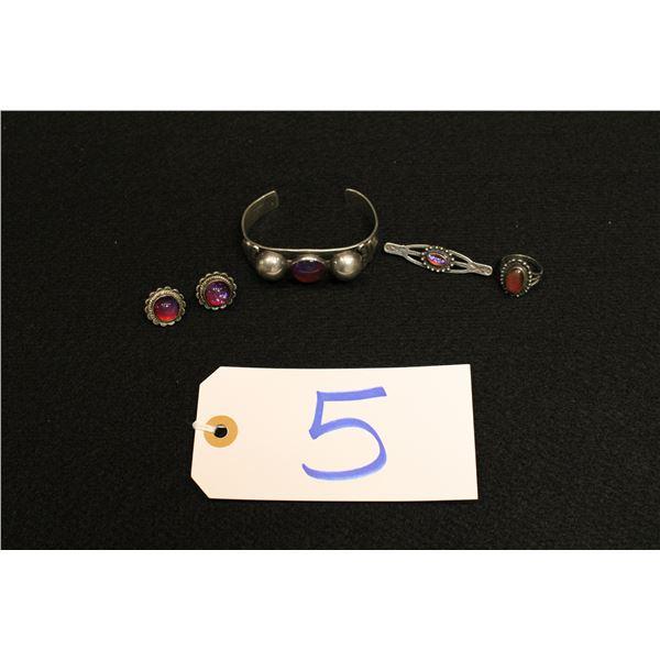 Set Of 5 Native American Fire Opal Jewlery
