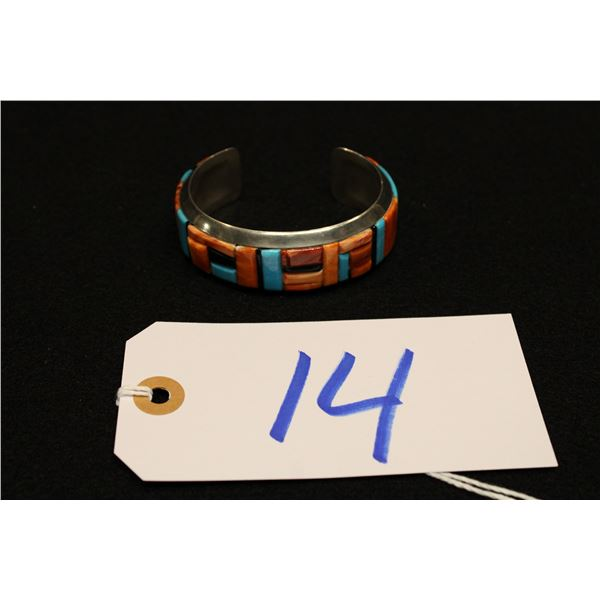 Native American Inlayed Silver Bracelet