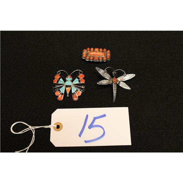 Set Of 3 Native American Sterling Pins & Broach