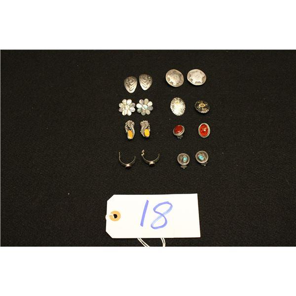 Set Of 8 Native American Silver Earrings