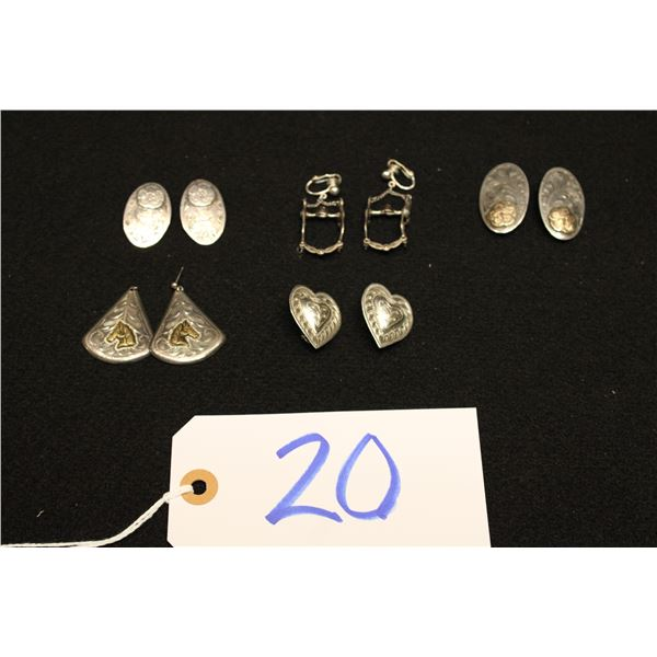 Set Of 5 Sterling Silver Clip Earrings
