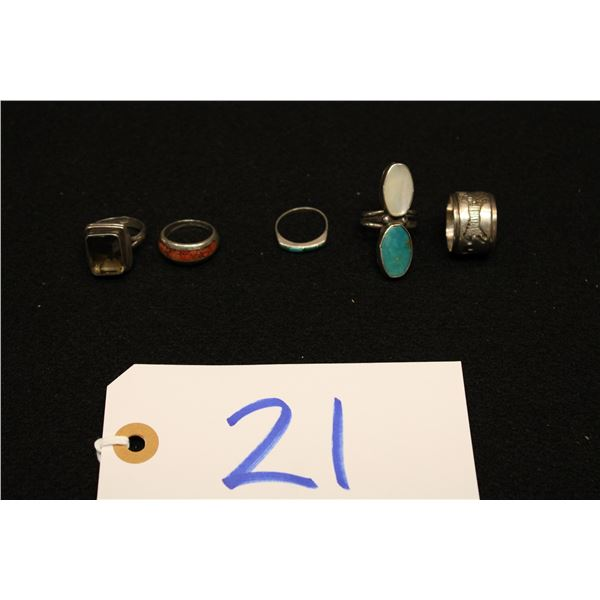 Set Of 5 Native & American Sterling Rings