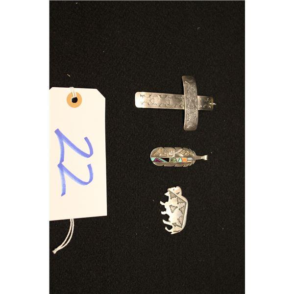 Set Of 3 Native American Sterling Pendants & Pins