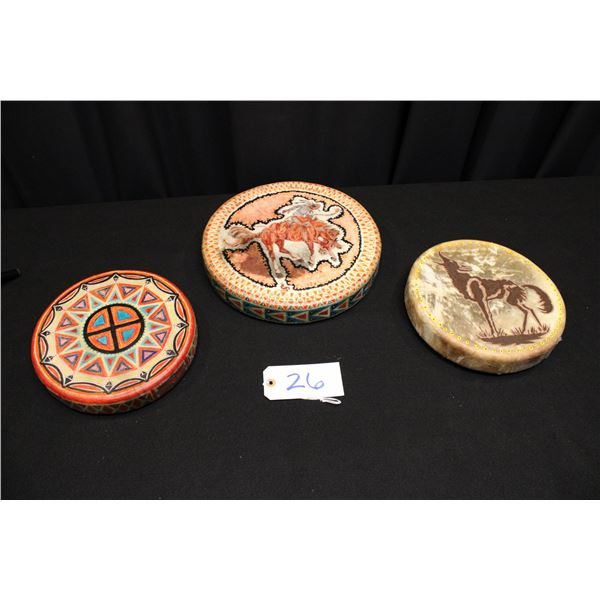 Set Of 3 Paul Crites Painted Drums