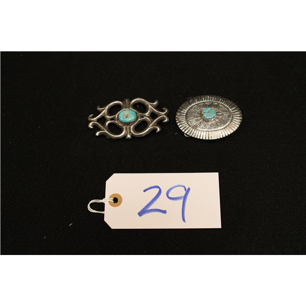 Set Of 2 Navajo Sterling & Turquoise Belt Buckles