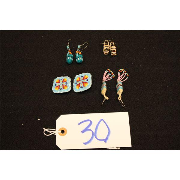 Set Of 4 Plateau/Woven Earrings