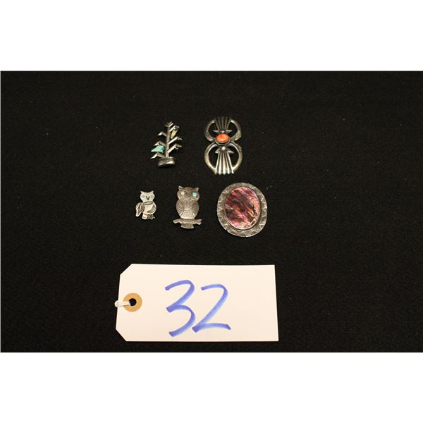 Set Of 5 Native American Silver Pins