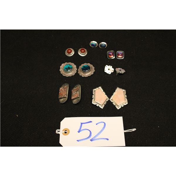Set Of 7 Native American Sterling Clip Earrings